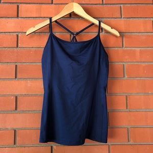 ATHLETA Navy Blue Swim Tankini Top